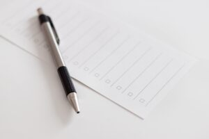 Pen and blank checklist