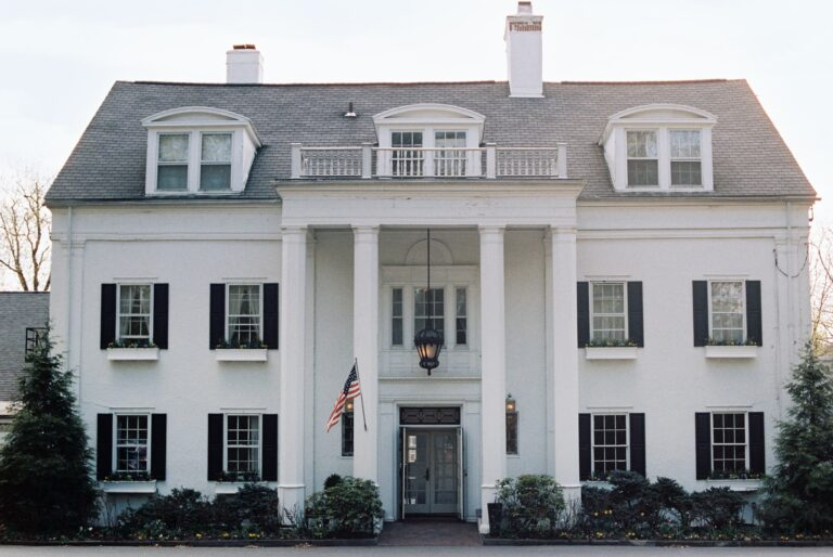 An elegant 18th century mansion facade.
