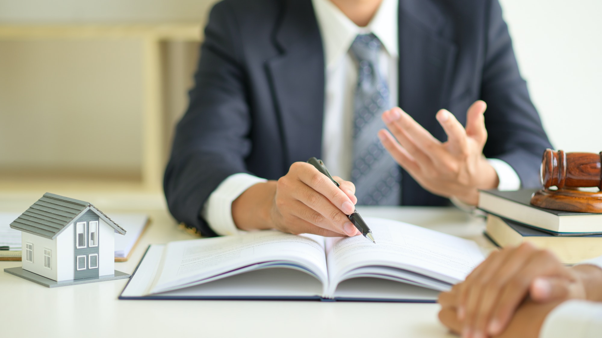 Lawyers are advising clients about real estate law.