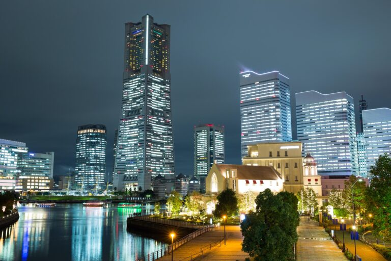 Cityscape in Japan at night