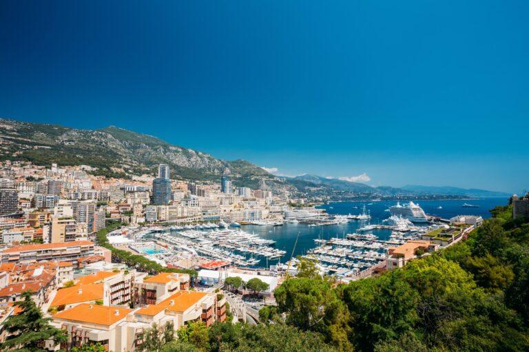 Monaco, Monte Carlo Cityscape. Real Estate Architecture On Mount