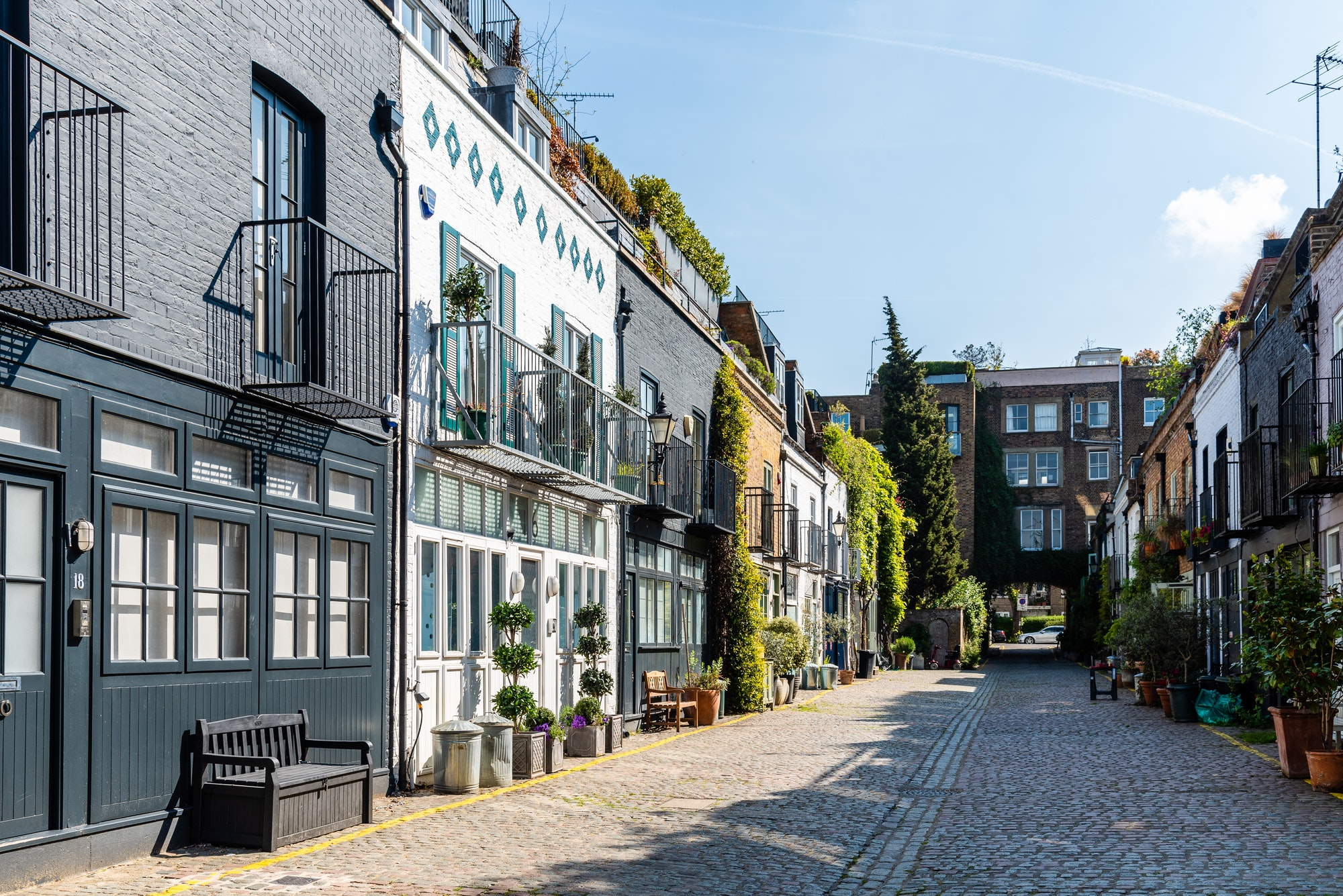 View of the picturesque St Lukes Mews alley in Notting Hill